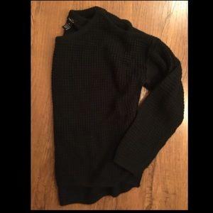 Soft waffle knit cold shoulder black sweater